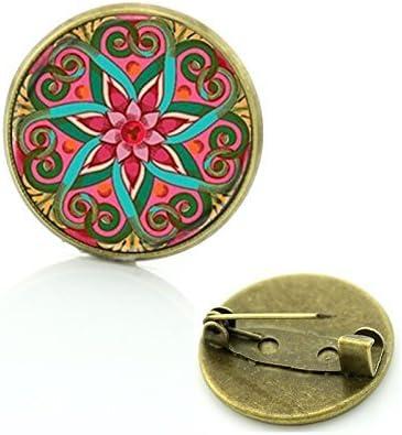 Broche de geometr/ía sagrada joyer/ía vintage para mujeres pin de solapa dise/ño de mandala de cristal insignia de bronce antiguo