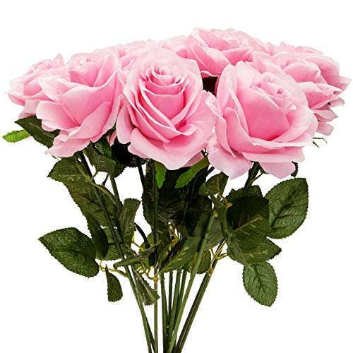 Juvale 12-Count Pink Fake Flowers, Artificial Silk Roses Arrangement Bouquet