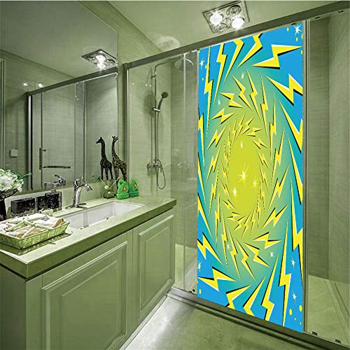 """3D Privacy Glass Film No Glue,Yellow and Blue,Rotating Lightning Bolts Motion Illusion Sparks Retro Pop Art Print Decorative,Blue Yellow White,35.43""""H x 23.62""""W for Home&Office"""