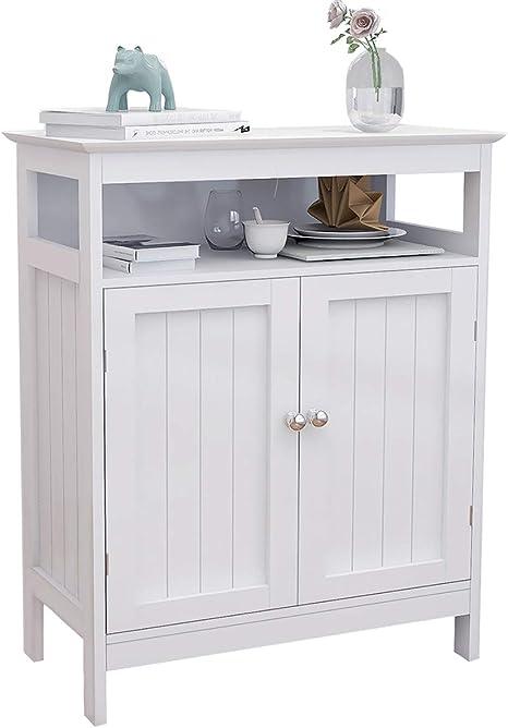 Amazon Com Bathroom Storage Cabinet Rasoo White Freestanding Organizer Cabinet For Bathroom Living Room 2 Doors And One Adjustable Shelf Kitchen Dining