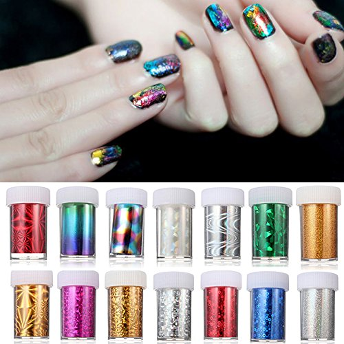 Nail Sticker - 1.2 Meter Acrylic Multicolor Nail Art Transfer Foil Strip Decoration Holo Starry Sky Diy Design - Nail Foil Glue Transfer Nails FoilsAdhesive Reel - Reel - - Sky Arizona Harbor