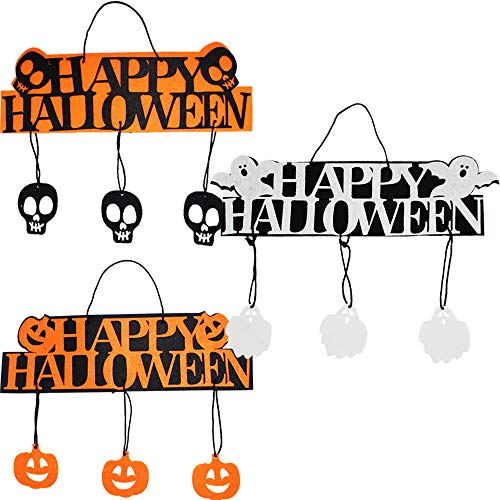 Yaobabymu 3 Set Halloween Hanging Door Decorations Welcome Sign Door and Wall Signs,Hanging Wall Pendant Decoration For Party Decorations,Trick or Treat & Happy Halloween