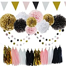 French/Paris Theme Birthday Decorations Party Decoration 35pcs Black Pink White Gold Tissue Paper Pom Pom Paper Tassel Garland Circle Garland Triangle Banner Birthday Parisian Baby Shower Decorations