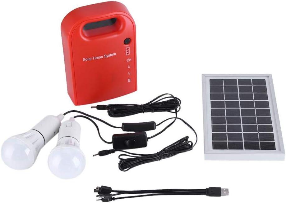 Kit de iluminación de energía solar, 12V portátil hogar iluminación exterior DC paneles solares DC sistema de generación de energía de carga con carga USB + 2 bombillas LED + paneles solares de CC