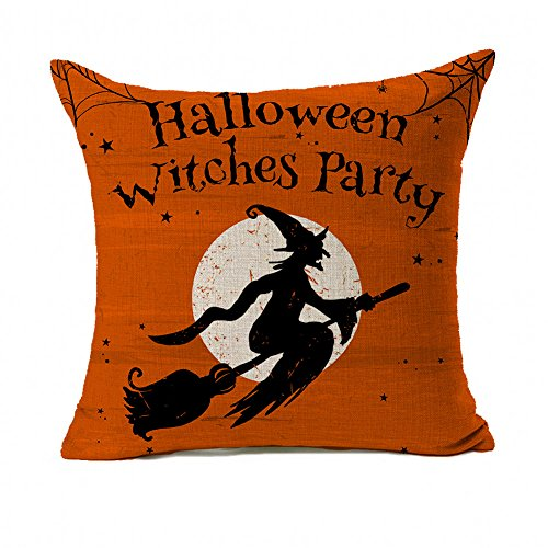 4TH Emotion Halloween Witch Party Home Decor Orange Throw Pillow Cover Pillow Case 18 x 18 Inch Cotton Linen for Sofa