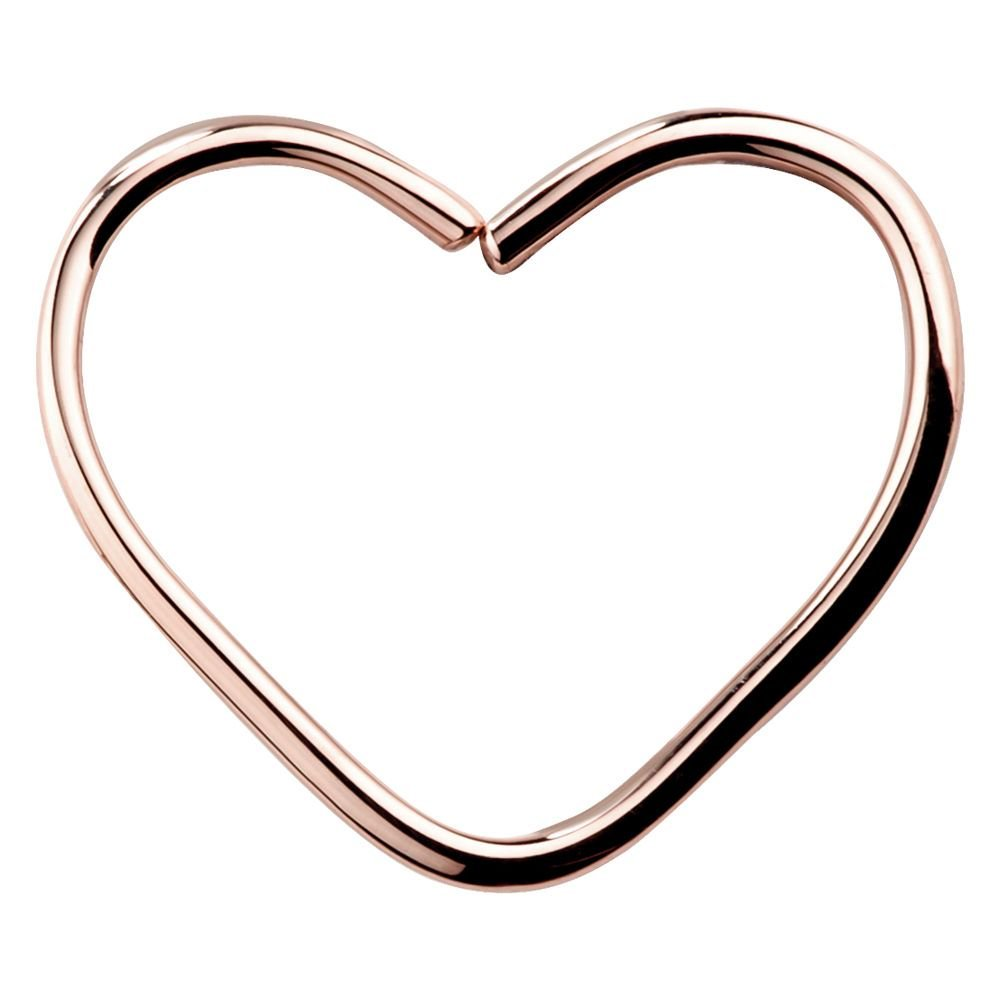 FreshTrends 16G 5/16'' 14K Rose Gold Heart Seamless Hoop Ring Daith or Rook Cartilage Earring