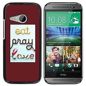 TopCaseStore / la caja del caucho duro de la cubierta de protección de la piel - Pray Red Quote Love Text Quote - HTC ONE MINI 2 / M8 MINI