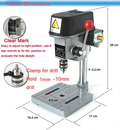 340W Mini Table Electric Drill Press 220V Drill Bits Power Tools Rotary Pillar Drill Drilling Press Bench Machine Table Bit Tip Diameter Drilling Diameter (Chuck Size): 1mm-10mm