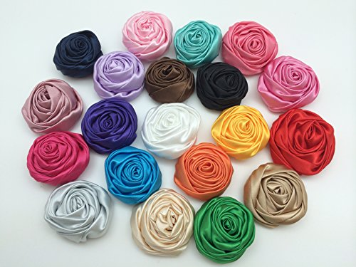 Satin Flower Embellishments (PEPPERLONELY Brand 20PC 2 Inch (50mm) Rosettes Satin Rose Fabric Flowers Hair Bow Headbands Making Embellishments)