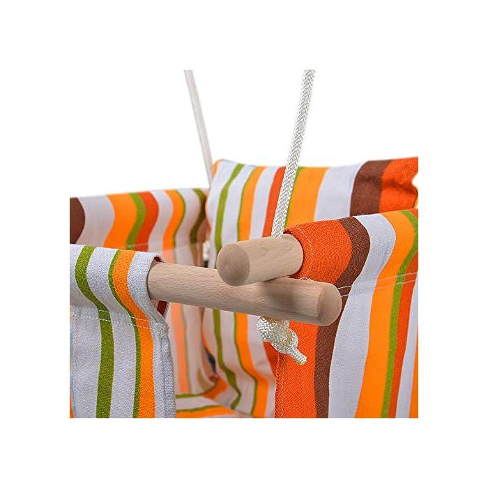 51uyaaqhPqL ✅ REASEGURACIÓN - ENVUELTO: Diseñado con un estilo envolvente, construido con 4 tacos de madera lisa de alta calidad para soporte múltiple y manos que lo sostienen. Para evitar que el bebé se caiga o duela, y deja la pierna abierta para un estiramiento flexible. El bebé puede desarrollar naturalmente su equilibrio en un momento feliz de swing. ✅ CALIDAD SATISFACTORIA: Hecho de tela de lino de lino natural y duradera con un toque hipoalergénico, agradable para la piel y plano, lo que hace que no raye la piel del bebé como tienden a hacerlo las bases duras de columpio. Fresco y transpirable en los calurosos días de verano. Pero POR FAVOR, NO deje al bebé solo, independientemente de lo seguro que sea. (Este asiento de columpio de tela para bebé tiene capacidad para un bebé de 6 meses a 3 años de edad hasta 132 lb / 60 kg. ) ✅ DISEÑO CÓMODO: ❤Viene con cojines de almohada suaves y adorables que combinan para un respaldo y una sentada cómodos.❤ Viene con una cuerda ajustable en longitud, rango de 125CM a 145CM, y el cojín desmontable se siente más cómodo y seguro. Creemos que su hijo se divertirá más jugando con él.