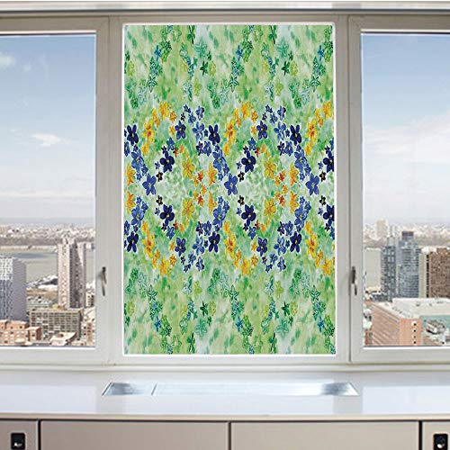 3D Decorative Privacy Window Films,Psychedelic Symmetric Interlace Japanese Garden Flowers Image,No-Glue Self Static Cling Glass Film for Home Bedroom Bathroom Kitchen Office 17.5x36 Inch ()