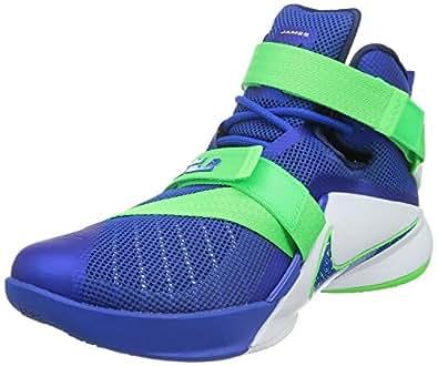 Nike Men's Lebron Soldier IX Basketball Shoe (4.5Y, Game Royal/Game Royal-Green Strike-White)