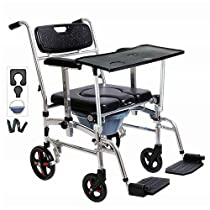 Nurth 4 in 1 Chair Shower Commode Mobile Chair Commode/Shower Wheelchair Padded Toilet Seat Shower with Dining Table, 4 Brakes, Removable Pedal, Adjustable armrest, PU Commode Seat and Pail 220lb