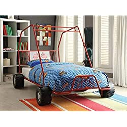 Twin Car Bed Red Metal Dune Buggy Frame Boys Racing Slat Style No Box Spring Req