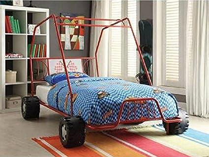 Amazon Com Twin Car Bed Red Metal Dune Buggy Frame Boys Racing Slat