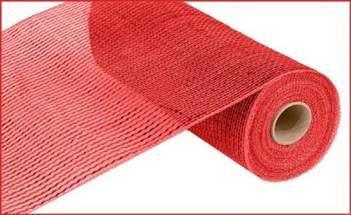 Deluxe Wide Foil Poly Deco Mesh, 10 Inches x 10 Yards (Red with Red Foil) ()