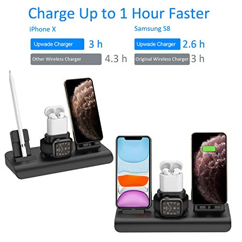 Wireless Charger for iPhone, Wireless Charging Stand for AirPods and Apple Watch, 4 in 1 Apple Charging Station Qi 7.5 W/10W Fast Charging Pad Compatible with iPhone 11/11 Pro/8/8 Plus/Xs MAX/XS/XR
