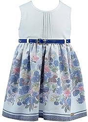 Lilax Little Girls' Flower Print Jacquard Dress with belt 2T Brown