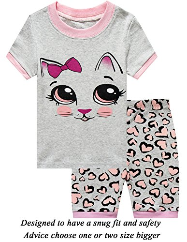 Short Girls Pajamas - Girls Short Pajamas Cat Sleepwear 100% Cotton Summer Toddler Pjs Clothes Shirts 12T