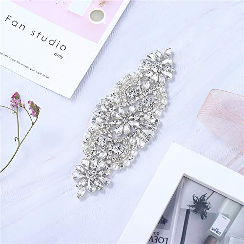 Bridal Wedding Dress Sash Belt Applique with Crystals Rhinestones Pearls Beaded Dacorations Handcrafted Sparkle Elegant Thin Sewn or Hot Fix for Women Gown Evening Prom Clothes (Clear ()