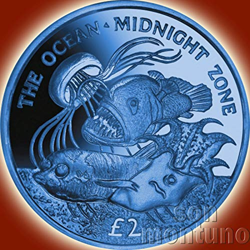 - THE OCEAN : MIDNIGHT ZONE - Dark Blue Titanium Coin in Box with Certificate of Authenticity - 2016 South Georgia and Sandwich Islands £2 - OCEAN ZONES