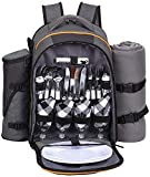 Hap Tim - 4 Person Picnic Backpack with Stainless Steel Utensils, Oversized Water Resistent Fleece Blanket,Big Cooler Compartment, Detachable Wine Bottle Holder, Good for Picnic Time-36021NEW