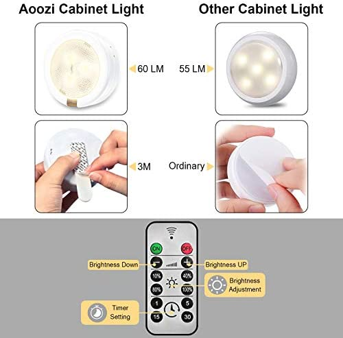 Aoozi LED Puck Light 6 Pack, LED Under Cabinet Lighting with 2 Remote Control, Under Counter Lights for Kitchen, Battery Powered Lights(18 Batteries Included), Night Light for Under Cabinet, Counter