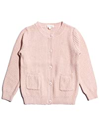 Mini Phoebee Size 2-7T Girls Pink Long Sleeve Knitted Cardigan Sweater with Pockets