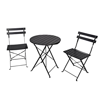 3 piece folding bistro set indoor and outdoor bistro table and rh amazon co uk Small Bistro Table and Chairs Ice Cream Table and Chairs