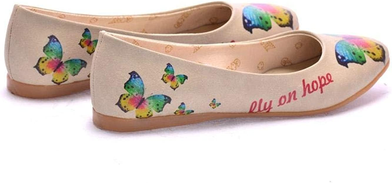 Goby Colorful Butterfly Ballerinas Shoes 2012