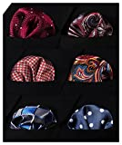 HISDERN 6 Piece Assorted Woven Men's Pocket Square Handkerchief Wedding Gift