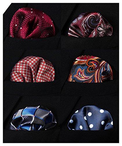 HISDERN 6 Piece Assorted Woven Men's Pocket Square Handkerchief Wedding - Handkerchief Pocket Square
