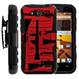 TurtleArmor | Compatible for ZTE Speed Case | N9130 [Hyper Shock] Rugged Reinforced Armor Combo Holster Belt Clip Hybrid Camo Case Silicone with Kickstand - Guns and Missiles