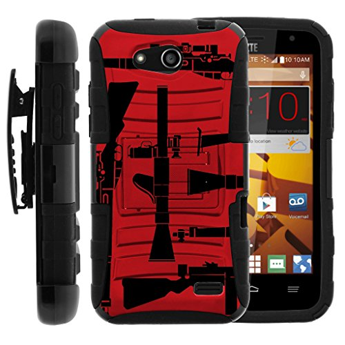 TurtleArmor | Compatible for ZTE Speed Case | N9130 [Hyper Shock] Rugged Reinforced Armor Combo Holster Belt Clip Hybrid Camo Case Silicone with Kickstand - Guns and Missiles by TurtleArmor