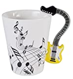 Novelty Yellow Guitar Handle Music Mug Unique Art Musical Notes Holds T Deal (Small Image)