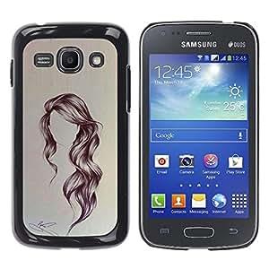 YOYOYO Smartphone Protección Defender Duro Negro Funda Imagen Diseño Carcasa Tapa Case Skin Cover Para Samsung Galaxy Ace 3 GT-S7270 GT-S7275 GT-S7272 - miedo sin cara, chica pelo largo