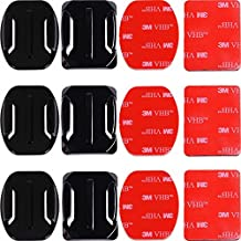 AFAITH Adhesive Mounts for GoPro Cameras - 3x Curved & 3x Flat Mounts Bundle W/ 3M Sticky Pads - Tape Mount to Your Helmet/Bike/Board/Car - Fits ALL Go Pro Models, HERO4, HERO3+ Black Edition, HERO3, HERO2, HERO1, HD & SJ4000 etc.