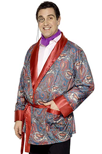 Smiffy's Bachelor Smoking Jacket Costume, Red / Black, Standard ()
