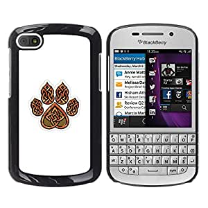iKiki Tech / Estuche rígido - Bear Claw Brown White Pattern Heart - BlackBerry Q10