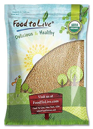 Food to Live Certified Organic Amaranth Grain (Whole Seeds, Non-GMO, Kosher, Bulk) (5 Pounds)