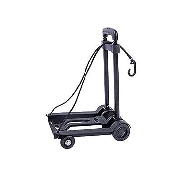 Carrito plegable con 4 ruedas de goma 2 cuerdas elásticas carretilla pesada multifunción carrito de mano