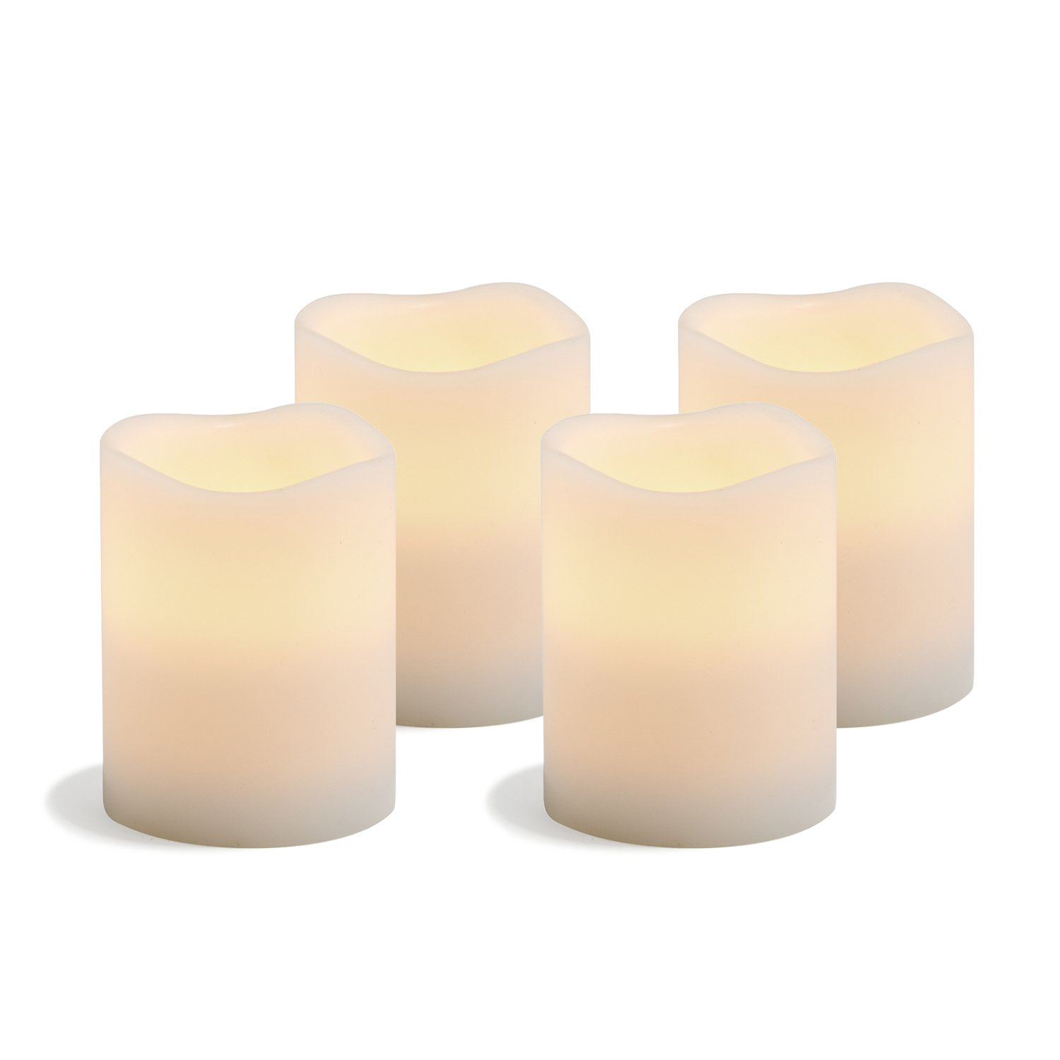 White Flameless Wax Pillar Candles, Set of 4, Warm White LEDs, 4'' Height, Batteries Included, Decorative Candle Set by LampLust - For Home Decor, Weddings and Gifts
