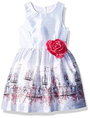 (PIPPA & JULIE Girls' Big Border Print Party Dress, Scene with Fuchsia)