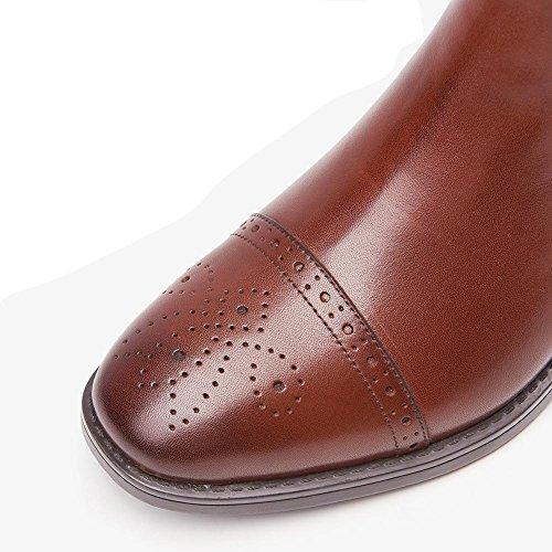 Stivaletti da donna in pelle tacco piatto più velluto spessa imbottitura calda casual comfort elasticità scarpe, BROWN-39 BROWN-35