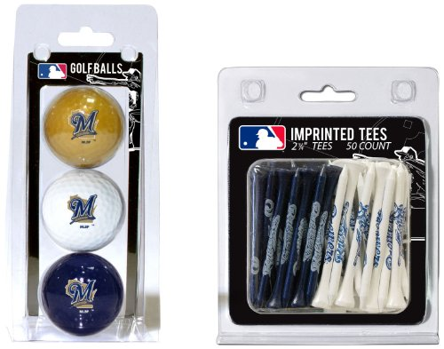 (Team Golf MLB Milwaukee Brewers Logo Imprinted Golf Balls (3 Count) & 2-3/4
