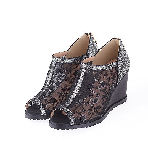 Sandals Solid Women's Peep High Zipper Leather Black WeenFashion Cow Toe Heels zxBnzO