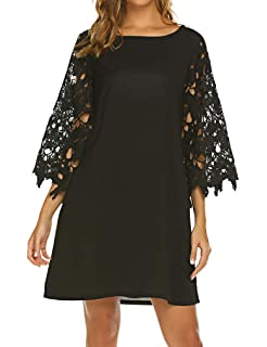 abbc8dd891f8db Qearal Women's Summer Crochet Lace 3/4 Sleeve Chiffon Tunic Dress Shift  Mini Dresses with