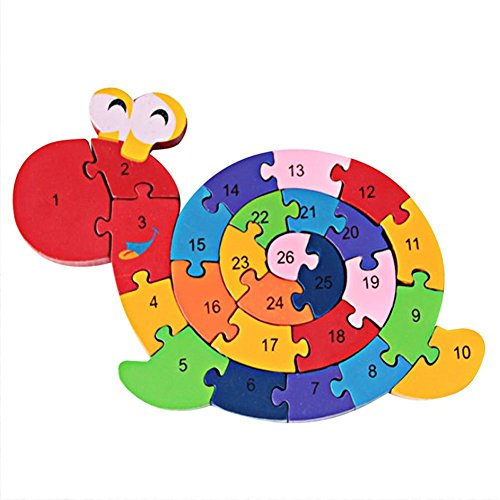 PROW Colourful Woodmade Snail Shape Alphabet Numbers Puzzle Jigsaw Safety Building Block Raise Memory Kid (Snail Jigsaw)