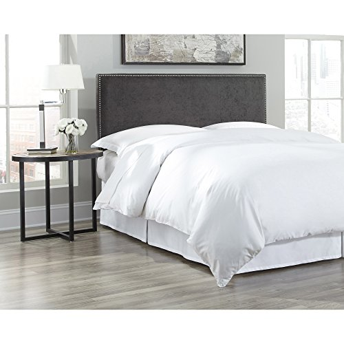 Zurich Queen Bed (Fashion Bed Group B72801 Zurich Upholstered Adjustable Headboard Panel with Hand Applied Nailhead Trim, Pewter Finish, Full/Queen)