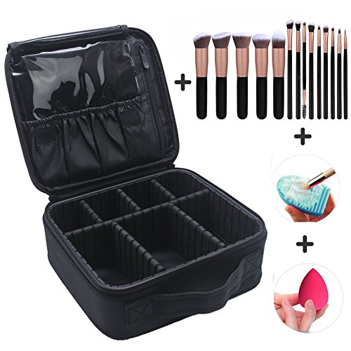 Makeup Case Cosmetic Bag Travel Makeup Train Case Black with 14 Pcs Premium Makeup Brushes Set Kit Rose Golden, Blender Sponge and Brush Egg (Black 17 Pcs) (Set Case Cosmetic)